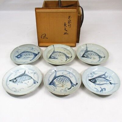 A527: Chinese old blue-and-white porcelain six plates with fish of KOSOMETSUKE