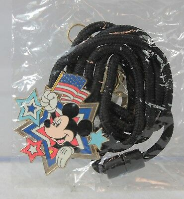 Disney WDI Pin LE Cast Member Bolo Rope Lanyard Mickey Mouse American Flag