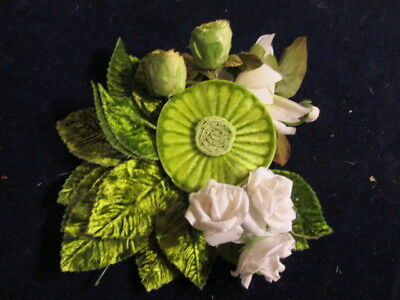 "Vtg Millinery Flower Collection Green White Velvet & Rosebuds 1 -2"" Japan  H2413"