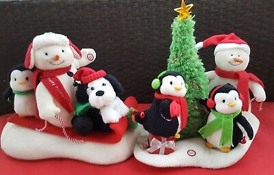 Lot of 2 HALLMARK Christmas JINGLE PALS Plus Musical Animated SNOWMEN/PENGUINS