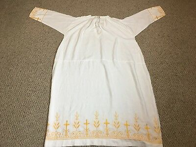 Linen Alb + Vestment + With Gold Embroidery