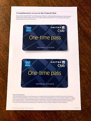 TWO (2) United Airlines Club Lounge One-Time Passes. Expire 12/31/2019.