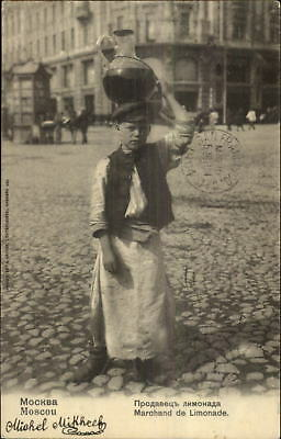 Russia Child Labor Boy Lemonade Merchant Moscou Moscow c1900 Postcard