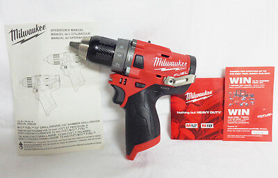 Milwaukee 2504-20 New M12 12V FUEL Brushless 1/2 In. Hammer Drill (Bare Tool)
