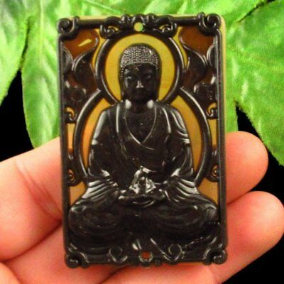 Imitate Carved Chinese Old Jade Hand-made Buddha Pendant Bead X32696
