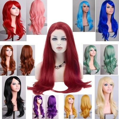Fashion Curly Wavy Cosplay Women Anime Lady  Party Full Wigs Long Hair Wig
