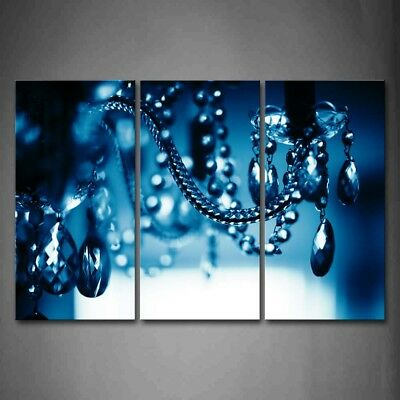 Framed Beautiful Blue Dark Chandelier Canvas Print Wall Art Painting Picture