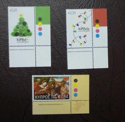 2016 Cyprus Greek Christmas Set Of 3 Mint Stamps