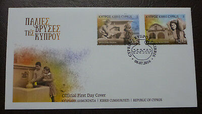 2016 Cyprus Greek Fountains Set Of 2 Stamps Fdc First Day Cover