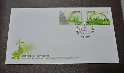 2016 Cyprus Think Green 2 Stamps Fdc First Day Cover