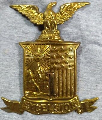 NEW YORK 1st NATIONAL GUARD EXCELSIOR DIVISION CIVIL WAR INDIAN WARS HAT BADGE