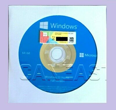 Microsoft Windows 10 Home 64bit DVD + COA Product Key + Hardware