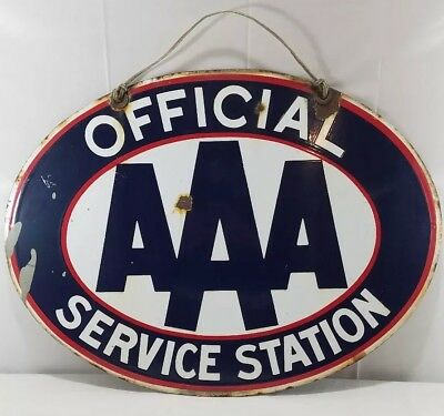 Vintage ORIGINAL AAA Service Station Double Sided Porcelain Sign