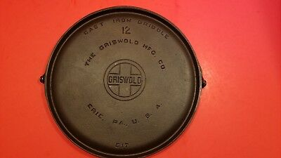 Antique Griswold Large Block Logo No.12 Cast Iron Bailed Handle Griddle