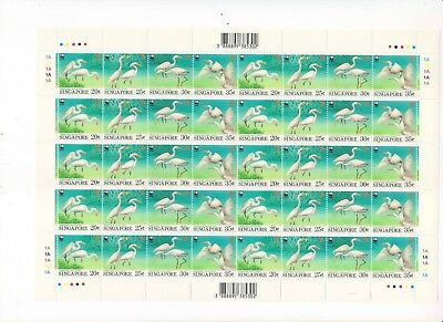 """Singapore, 1993, """"wwf - Birds"""" Full Sheet Of 40 Stamps Mint Nh Fresh Condition"""