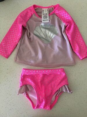 Size 00 Baby Girls 2 Piece Swimmers Costume Mermaid Pink Near New