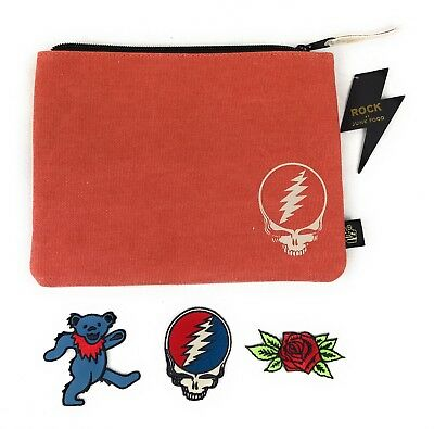 Grateful Dead DESIGN YOUR OWN Pouch w/ Iron On Patches Zippered Purse Bag Case
