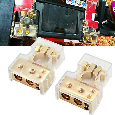 2pcs Car Battery Gold Terminals Positive+Negative Heavy Duty Plated Connector US
