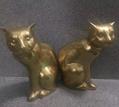 Vintage Bookends Set Of Two Large Heavy Solid Metal Brass Cats (RARE)
