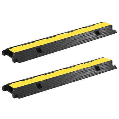 vidaXL 2x Cable Protector Ramps 1 Channel Rubber 100cm Conduit Wire Road Cover