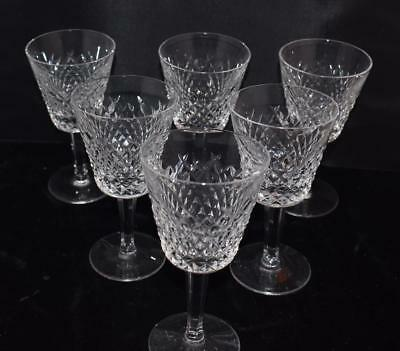 "Set of 6 Waterford Crystal Alana Claret Wine Stems - 5.75""H - Excellent"