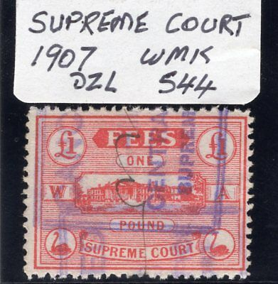 West Aust Revenue Stamp Duty 1907 £1 red Supreme Court Dzl S44 used