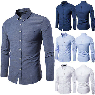 Luxury Men's Formal Shirt Long Sleeve Slim Fit Business Dress Shirts Casual Tops