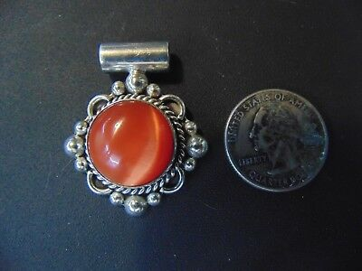 """Vintage .925 Solid Sterling With Beautiful Stone Silver Pendant Jewelry 1 3/4"""""""