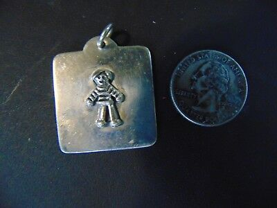 """Beautiful Vintage .925 Solid Sterling Silver Kid Square Pendant Jewelry 1 1/2"""""""