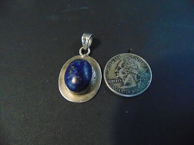 """Vintage .925 Solid Sterling With Blue Stone Silver Pendant Jewelry 1 1/2"""""""
