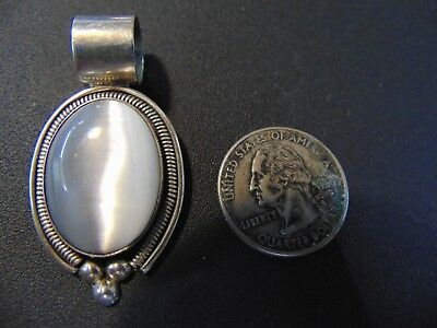 """Vintage .925 Solid Sterling With Beautiful Stone Silver Pendant Jewelry 2"""""""