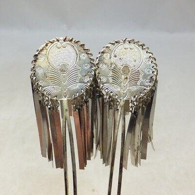 A787: OLD Japanese pair of woman's ornamental hairpin KANZASHI with butterfly