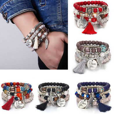 I Love You Multilayer Natural Stone Crystal Bangle Beaded Bracelet Jewelry Chic
