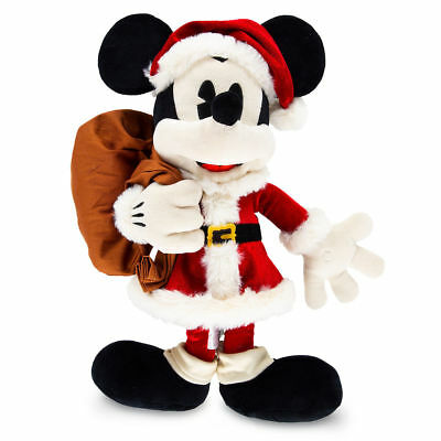 "Christmas MICKEY MOUSE in SANTA CLAUS Suit & Gift Bag 18"" Plush Disney Store NEW"