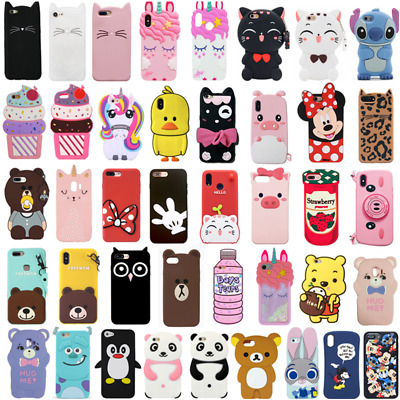 For Huawei Phone Case Cover 3D Gift Cute Cartoon Animal Soft Silicone Back Skins