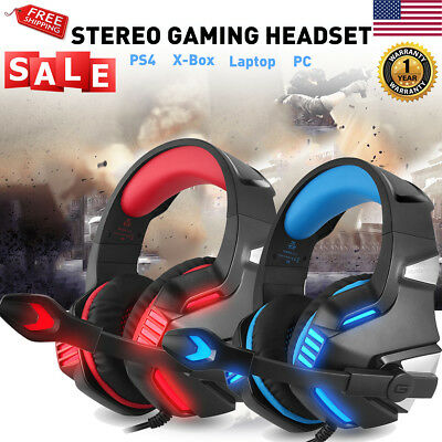 3.5mm Gaming Surround Stereo Headset w/ Mic LED Headphones For PC PS4 Xbox ONE