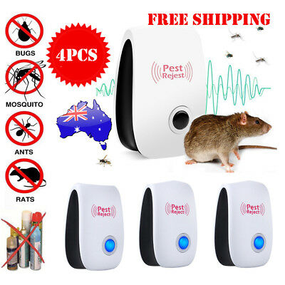 4 Ultrasonic Pest Control Electronic Repeller Rat Mosquito Insect Repellent 2019