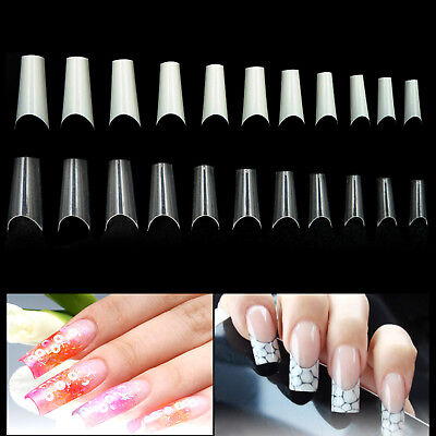 500 xNature Clear C Curve French False Half Acrylic UV Gel False Nail Art Tips