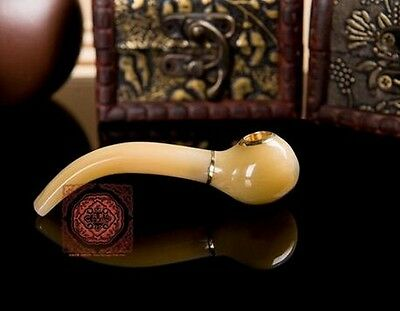 """Small Natural OX Horn Brass Cigarette Holder Tobacco Pipe, 3 1/8"""", 2-in-1"""