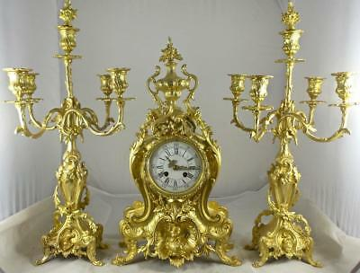 Antique Large French Marti 19th c Gilt Ormolu Bronze Roccoco Mantel Clock Set