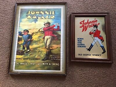 Vintage Johnnie Walker Scotch Whisky Breweriana Advertising Poster And Mirror