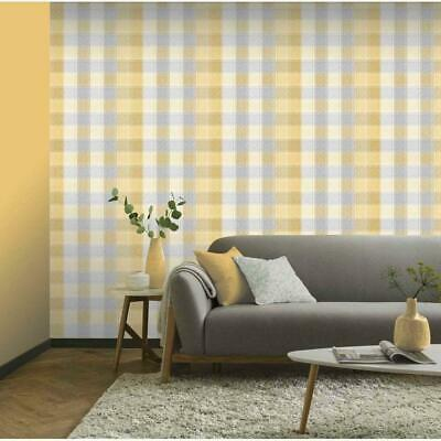 Arthouse Country Check Tartan Plaid Ochre Grey Mustard Yellow Wallpaper 902807