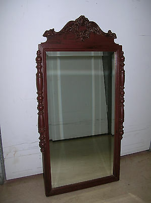 Antique - Carved Wood Vanity Mirror With Beveled Glass