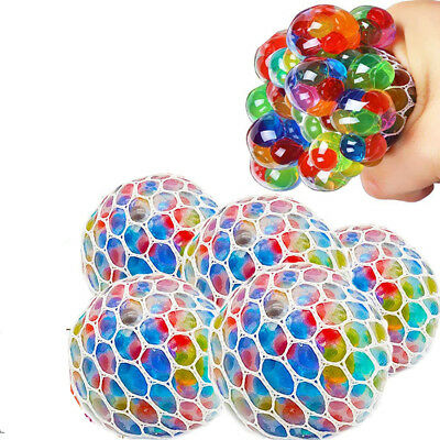 2.3'' Rainbow Colorful Grape Squishy Mesh Stress Ball Reliever Squeeze ADHD Toys