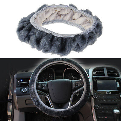 Gray Universal Warm Soft Wheel Cover For Winter Fuzzy Plush Car Auto Steering