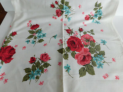 Vintage Linen Tablecloth Deep Red Roses 56 x 53 inches
