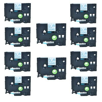 10Pack TZe133 Blue on Clear Label Tape TZ133 for Brother P-touch PT1280 PT2730