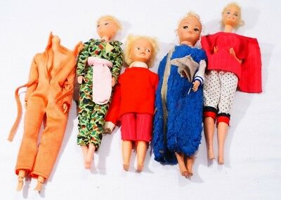 5 x Vintage Barbie/Sindy Type Doll Bundle with Clothes Thames Hospice B 102 A