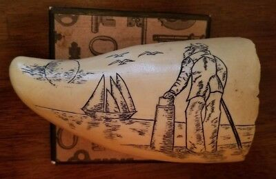 Antique Faux Resin Scrimshaw Whale Tooth Replica.