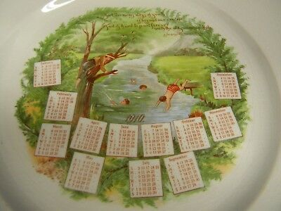 1910 Antique Porcelain CALENDAR PLATE ~ Old Swimming Hole ~ Ralph W. Emerson